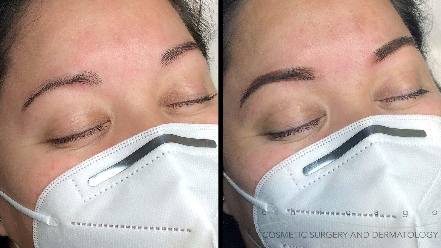 Ombre Powder Eyebrows before and after