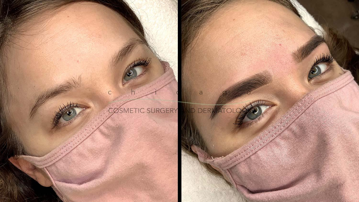 Eyebrow wax and tint before and after
